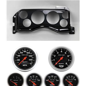 90-93 Mustang Carbon Dash Carrier w/ Auto Meter Sport Comp Electric Gauges