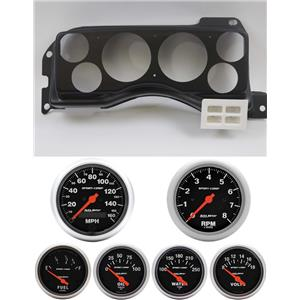 87-89 Mustang Black Dash Carrier w/ Auto Meter Sport Comp Electric Gauges