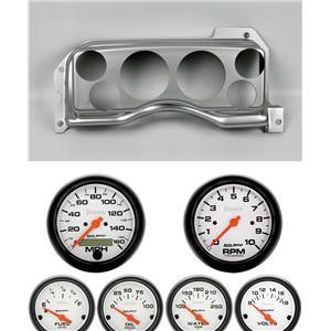 90-93 Mustang Silver Dash Carrier w/ Auto Meter Phantom Electric Gauges