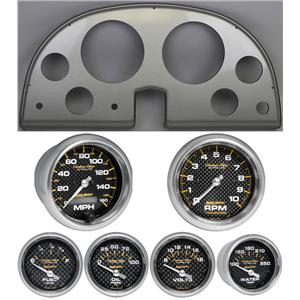 63-67 Corvette Silver Dash Carrier w/ Auto Meter Carbon Fiber Gauges