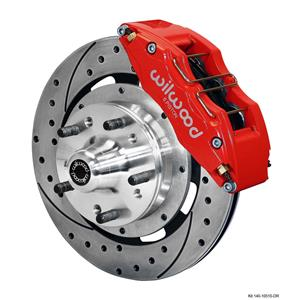 """Wilwood 64-72 Chevelle A-Body Front Disc Brake Kit 12"""" Drilled Rotor Red Caliper"""