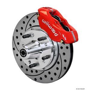 """Wilwood Mopar B & E Body Front Disc Brake Kit 11"""" Drilled Rotor Red Caliper"""