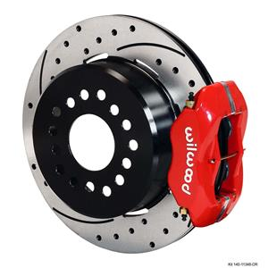 "Wilwood Rear Disc Brake Kit 55-57 Bel Air 12.19"" Drilled Rotor Red Caliper"