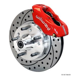 "NEW WILWOOD FULL FRONT DISC BRAKE KIT, 11"" DRILLED ROTORS, RED DYNALITE CALIPERS, PADS, 1979-1987 GM"