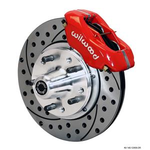 """Wilwood 59-64 Impala Front Disc Brake Kit 11"""" Drilled Rotor Red Caliper"""