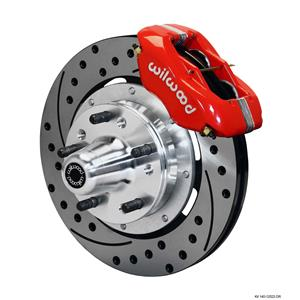 "Wilwood 65-68 Impala Front Disc Brake Kit 12.19"" Drilled Rotor Red Caliper"