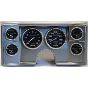 78-81 Chevy G Body Silver Dash Carrier w/Auto Meter Carbon Gauges