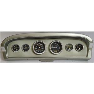 61-66 Ford Truck Silver Dash Carrier w/Auto Meter Carbon Fiber Gauges