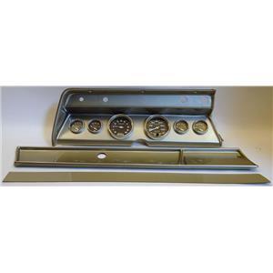 66 Chevelle Silver Dash Carrier w/ Auto Meter Carbon Fiber Gauges