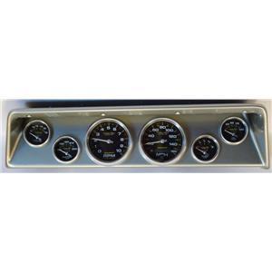 66 67 Nova Silver Dash Carrier w/ Auto Meter Carbon Fiber Gauges