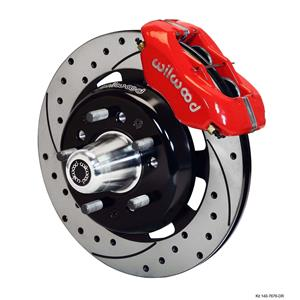 "Wilwood 55-57 Bel Air 210 150 Front Disc Big Brake Kit 12.19"" Drilled Rotor Red"