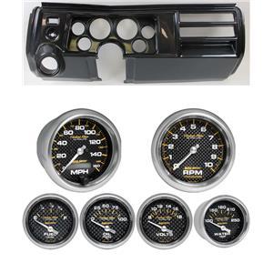 """69 Chevelle Carbon Dash Carrier Auto Meter 3-3/8"""" Carbon Fiber Electric Gauges"""