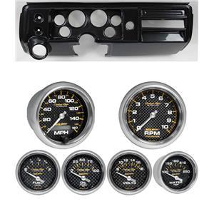 """68 Chevelle Carbon Dash Carrier Auto Meter 3-3/8"""" Carbon Fiber Electric Gauges"""