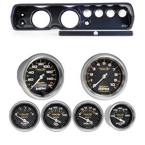 """64 Chevelle Carbon Dash Carrier w/ Auto Meter 5"""" Carbon Fiber Electric Gauges"""