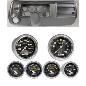 """69 Chevelle Silver Dash Carrier Auto Meter 3-3/8"""" Carbon Fiber Electric Gauges"""