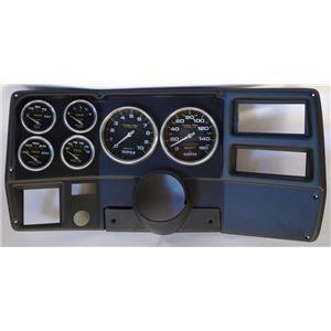 """73-83 GM Truck Black Dash Carrier w/ Auto Meter Carbon Fiber 5"""" Gauges"""