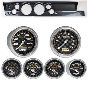 """67-69 Barracuda Carbon Dash Carrier Auto Meter 5"""" Carbon Fiber Electric Gauges"""