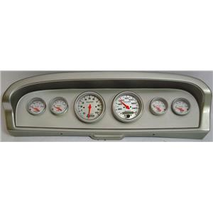 61-66 Ford Truck Silver Dash Carrier w/Auto Meter Ultra Lite Electric Gauges
