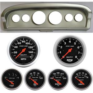 61-66 Ford Truck Silver Dash Carrier w/Auto Meter Sport Comp Electric Gauges