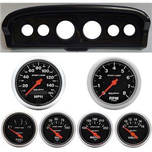61-66 Ford Truck Carbon Dash Carrier w/Auto Meter Sport Comp Electric Gauges