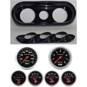 65 Nova Carbon Dash Carrier w/Auto Meter Sport Comp Electric Gauges