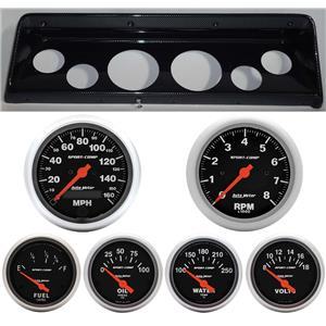 66 67 Nova Carbon Dash Carrier w/Auto Meter Sport Comp Electric Gauges