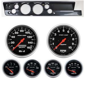 """67-69 Barracuda Carbon Dash Carrier w/ Auto Meter 5"""" Sport Comp Electric Gauges"""