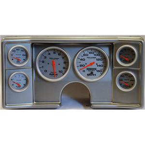 78-81 Chevy G Body Silver Dash Carrier w/Auto Meter Ultra Lite Electric Gauges