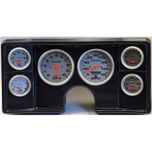 82-88 Chevy G Body Carbon Dash Carrier w/Auto Meter Ultra Lite Electric Gauges