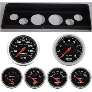 66 67 Nova Black Dash Carrier w/Auto Meter Sport Comp Electric Gauges