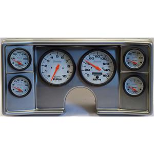 78-81 Chevy G Body Silver Dash Carrier w/Auto Meter Phantom Electric Gauges