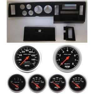 82-86 S10 Pickup Black Dash Carrier w/ Auto Meter Sport Comp Electric Gauges