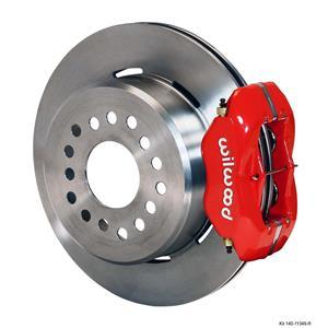 """Wilwood Rear Disc Brake Kit 55-57 Bel Air 12.19"""" Plain Rotor Red Caliper"""