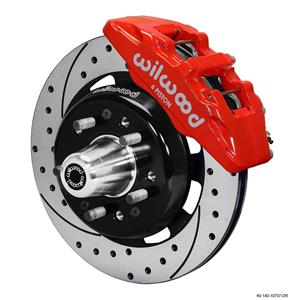 "Wilwood 55-57 Bel Air 210 150 Front Disc Brake Kit 12.19"" Drilled Rotor Red"