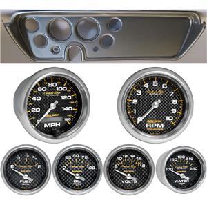 67 GTO Silver Dash Carrier w/Auto Meter Carbon Fiber Gauges