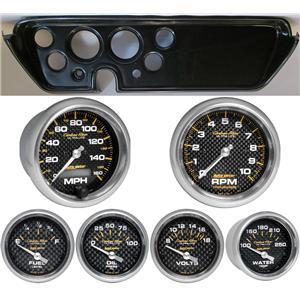 67 GTO Carbon Dash Carrier w/Auto Meter Carbon Fiber Gauges