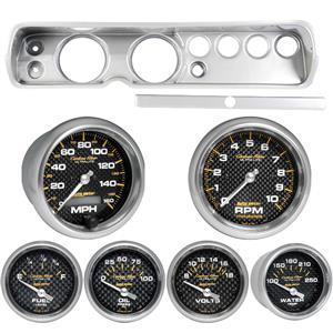 """65 Chevelle Silver Dash Carrier w/ Auto Meter 5""""  Carbon Fiber Gauges"""