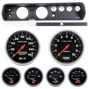 """65 Chevelle Black Dash Carrier w/ Auto Meter 5"""" Sport Comp Electric Gauges"""