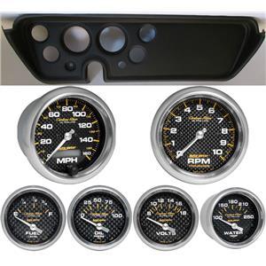 67 GTO Black Dash Carrier w/Auto Meter Carbon Fiber Gauges