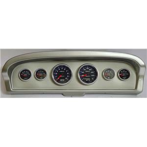 61-66 Ford Truck Silver Dash Carrier w/ Auto Meter Cobalt Gauges