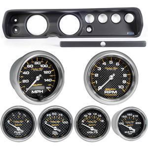 """64 Chevelle Black Dash Carrier w/ Auto Meter 5""""  Carbon Fiber Gauges"""
