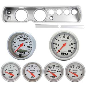 """65 Chevelle Silver Dash Carrier w/ Auto Meter 5""""  Ultra Lite Electric Gauges"""