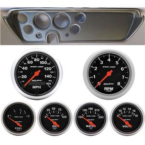 67 GTO Silver Dash Carrier w/Auto Meter Sport Comp Electric Gauges