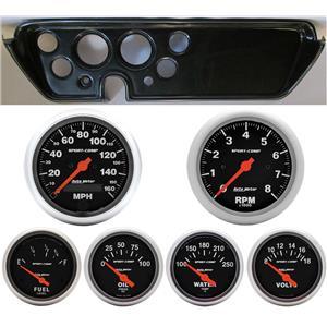 67 GTO Carbon Dash Carrier w/Auto Meter Sport Comp Electric Gauges
