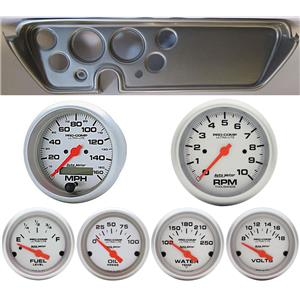 67 GTO Silver Dash Carrier w/Auto Meter Ultra Lite Electric Gauges