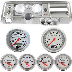 """68 Chevelle Silver Dash Carrier 5"""" Ultra Lite Electric Gauges w/ Astro"""