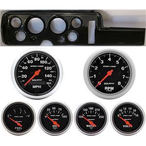 68 GTO Carbon Dash Carrier w/ Auto Meter Sport Comp Electric Gauges