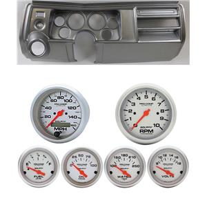 """69 Chevelle Silver Dash Carrier 5"""" Ultra Lite Electric Gauges w/ Astro"""