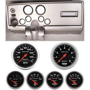 69 Pontiac Firebird Silver Dash Carrier w/ Auto Meter Sport Comp Electric Gauges