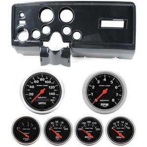 69 Pontiac Firebird Carbon Dash Carrier w/ Auto Meter Sport Comp Electric Gauges